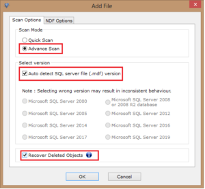 Choose Advance Scan mode and select the SQL Server version