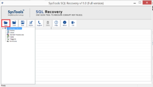 Open to load the SQL database file