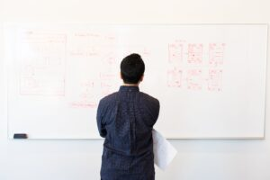 A person in a blue shirt looking at sketches of websites on a whiteboard